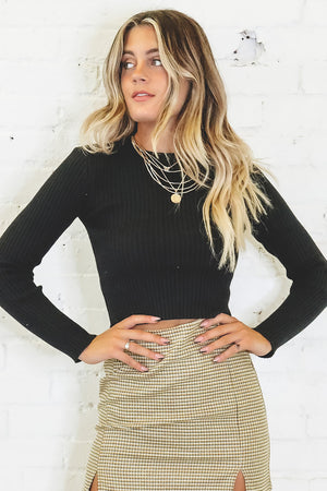It's A Date Black Knit Crop Top