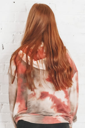 Be Cool Oversized Rust Tie Dye Hoodie