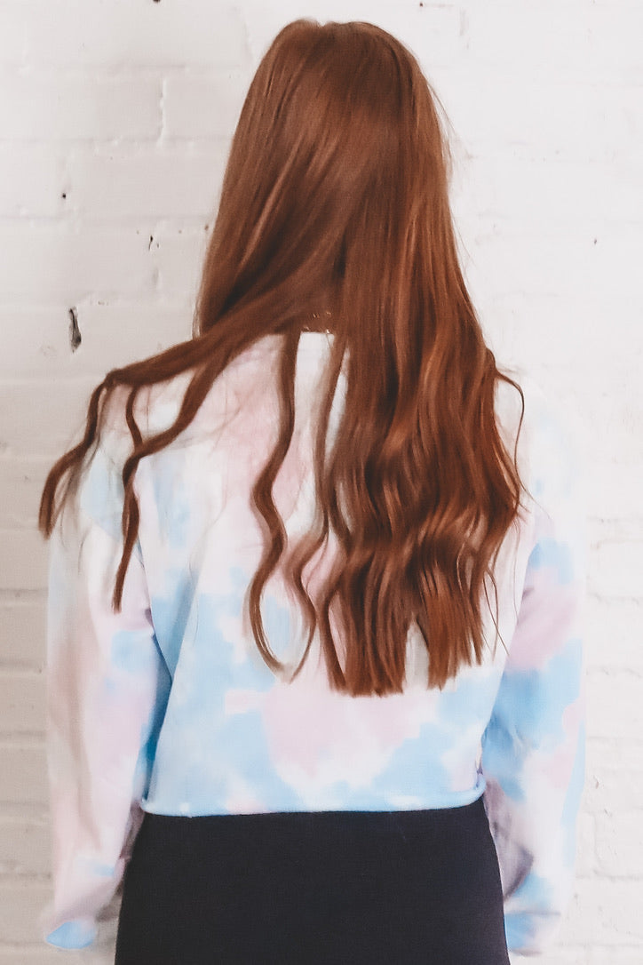 Cotton Candy Dreams Blue Tie Dye Crop Sweater