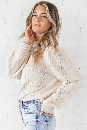 We Just Click Cream Pom Pom Sweater