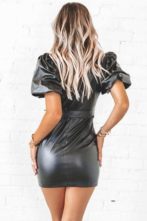 Let The Fame Get To Me Black Leather Mini Dress