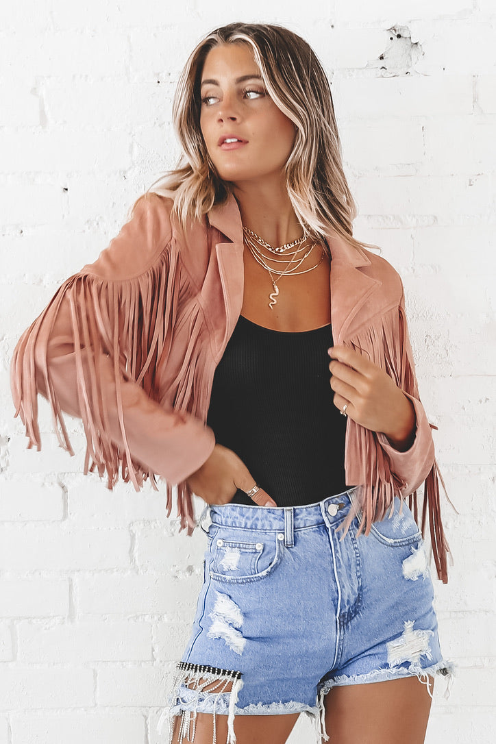 Show 'Em Who's Boss Blush Pink Suede Fringe Jacket