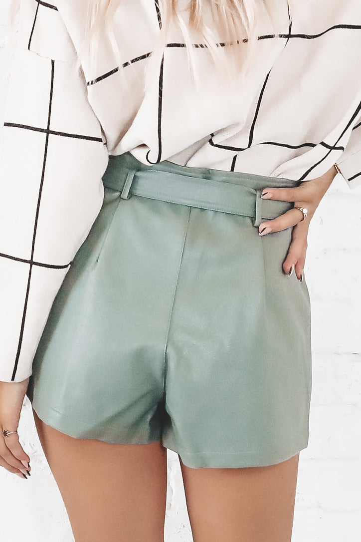 Never Felt This Way Pistachio Paper Bag Shorts