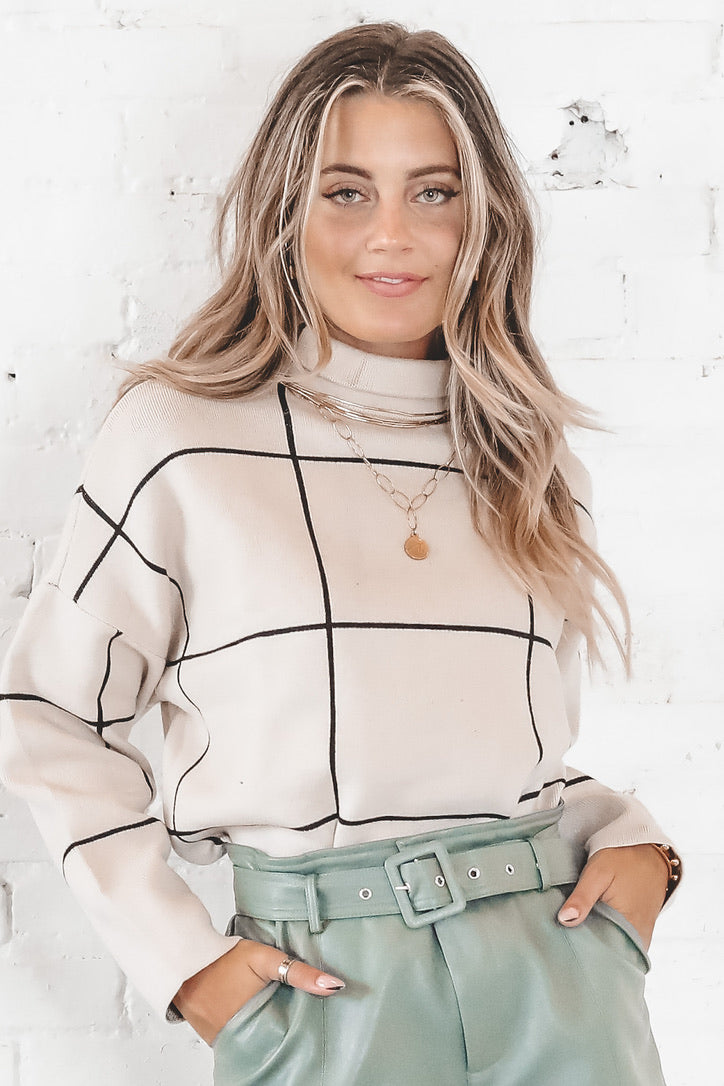 Sittin' Pretty Cream Grid Sweater
