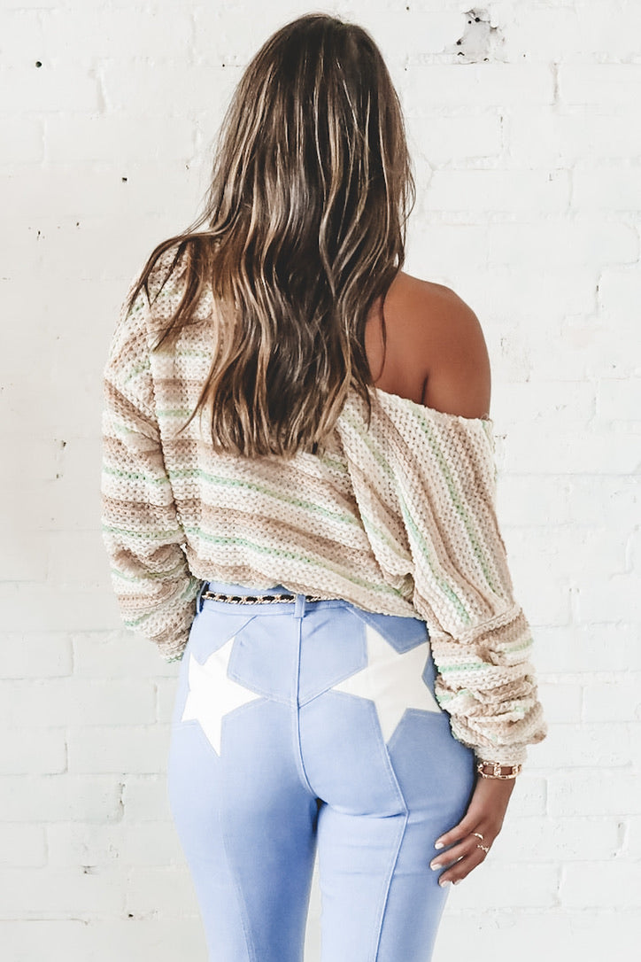 Call You Later Multi Color Striped Cropped Sweater