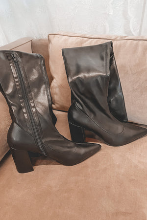 So Secretive Black Leather Knee High Boots