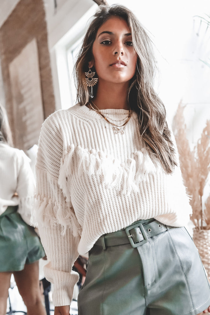 Bright Lights Ivory Fringe Sweater