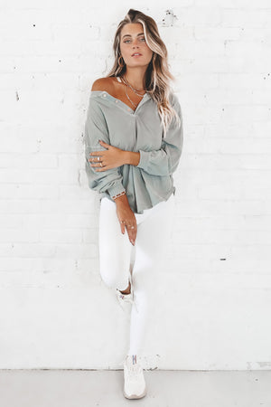 What Would You Do Pistachio Long Sleeve Top