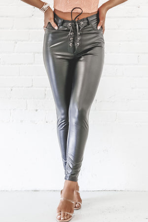 Lace Up Baby Leather Pants