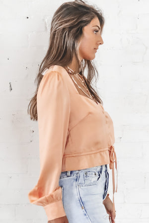 With Or Without You Apricot Button Front Top