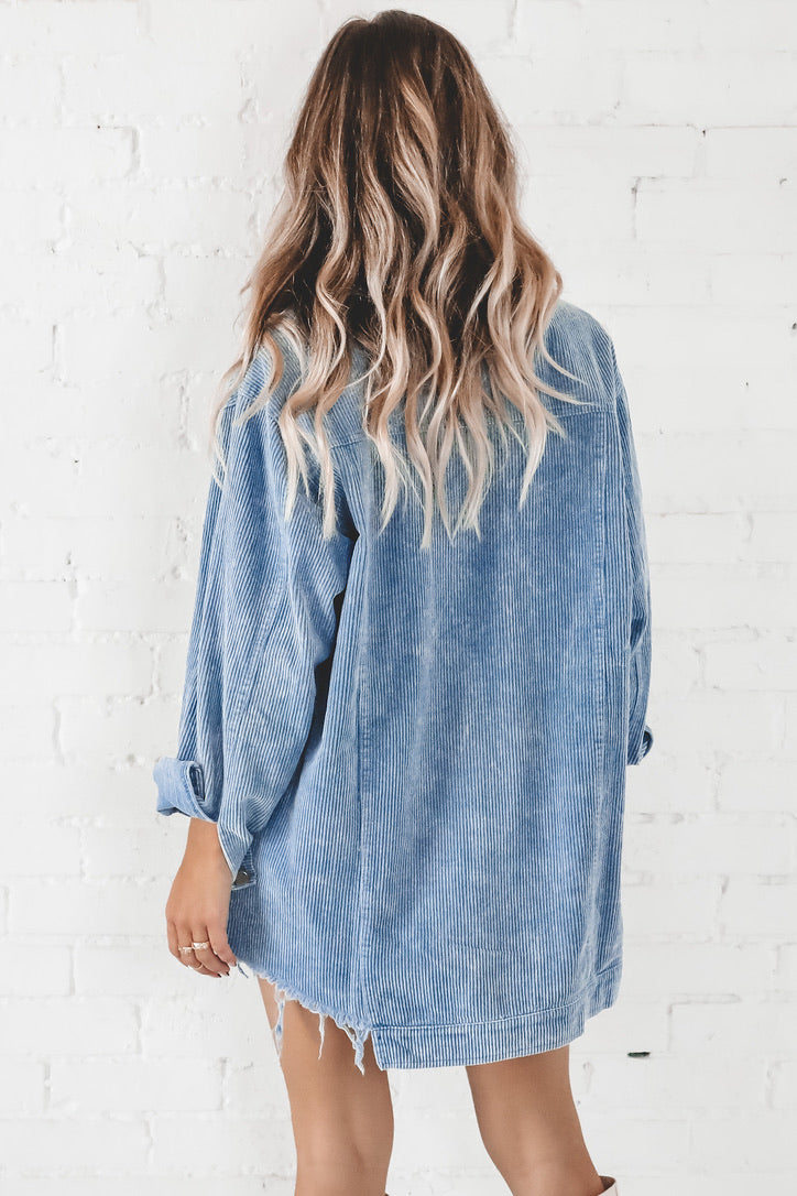 Ring Of Fire Blue Corduroy Distressed Hem Dress