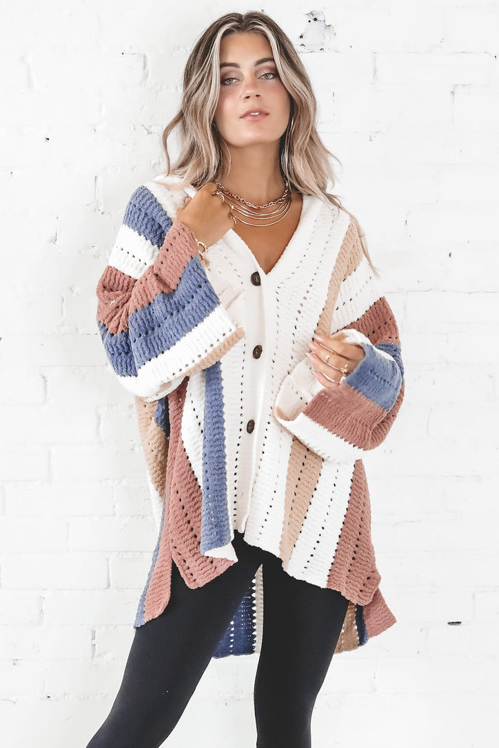 Better This Way Ivory Color Block Hooded Cardigan