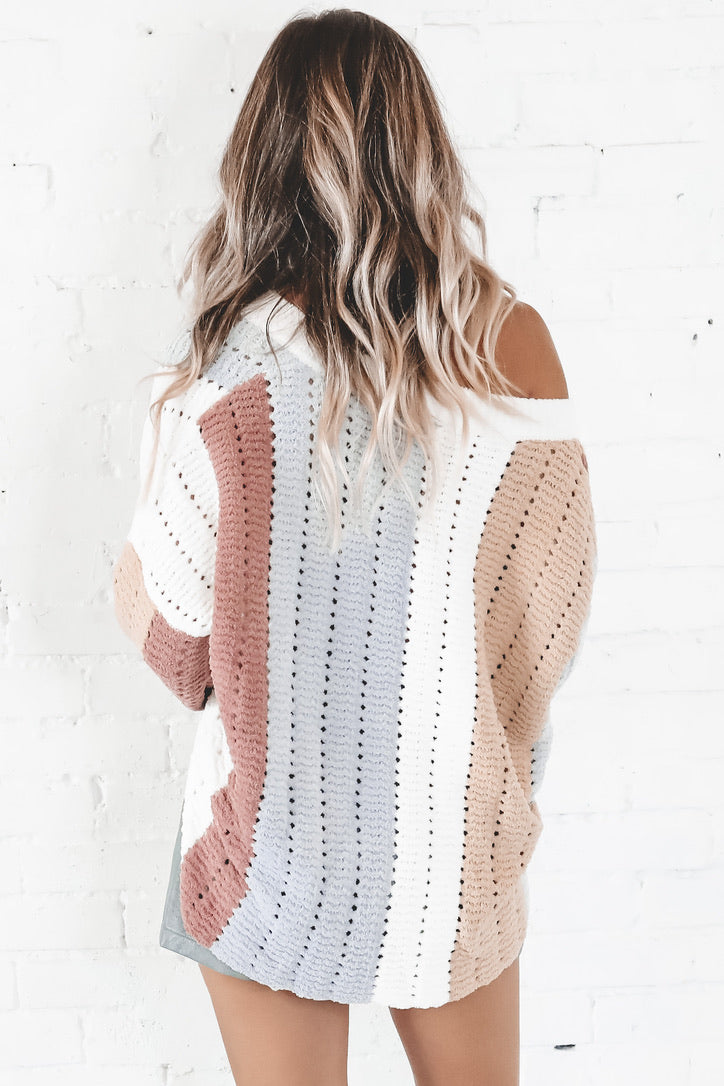Magic In The Hamptons Ivory Color Block Sweater