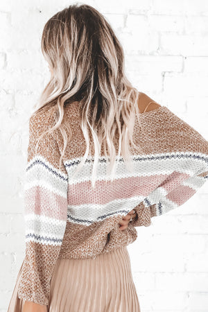 Spread Joy Rust Striped Sweater