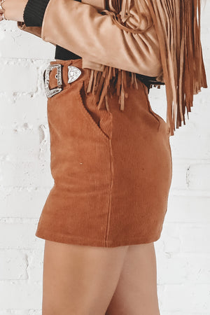 Let's Get Going Camel Corduroy Skirt