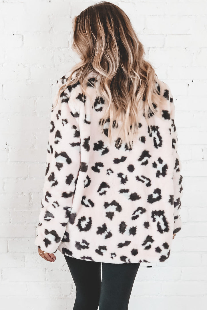 Grrrl Power Blush Leopard Print Faux Fur Jacket