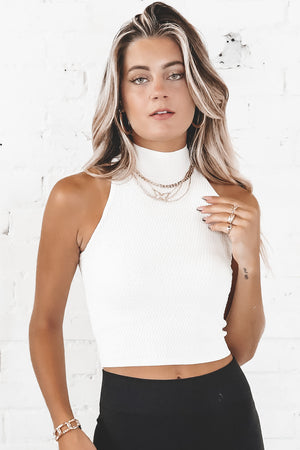 Bright Side Of The Moon Ivory Mock Turtleneck Top