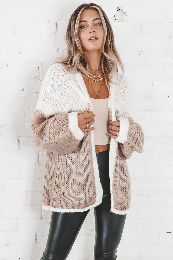 Wide Awake Ivory And Taupe Colorblock Cardigan