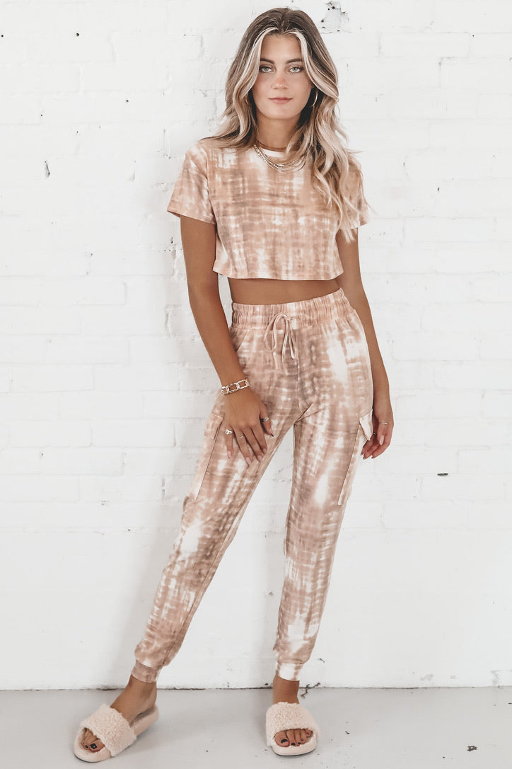 Missing You Crazy Taupe Tie Dye Joggers Set