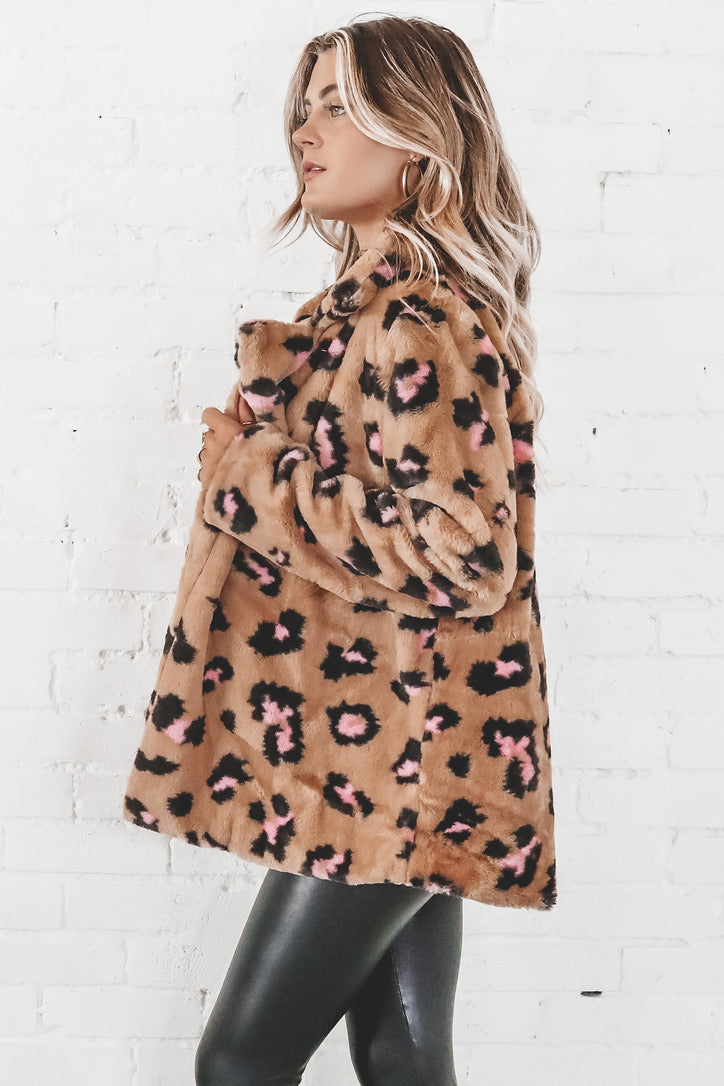 Grrrl Power Taupe Leopard Print Faux Fur Jacket