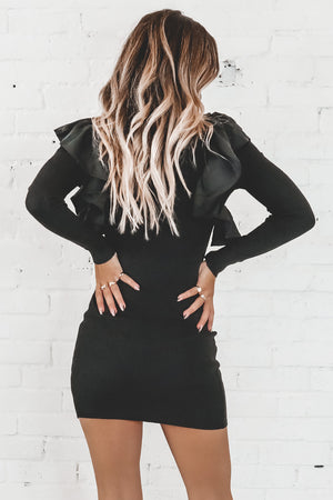 Ask Me Out Black Ruffle Sleeve Bodycon Sweater Dress
