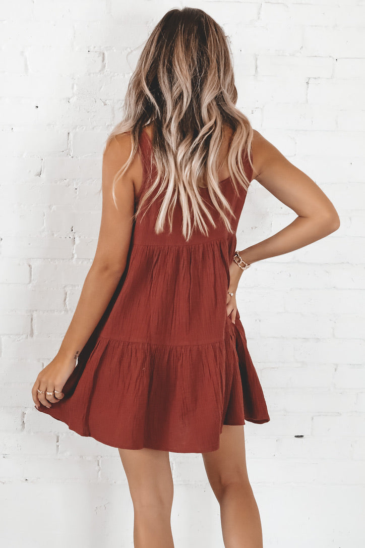 Always Has Been Burgundy Tiered Dress