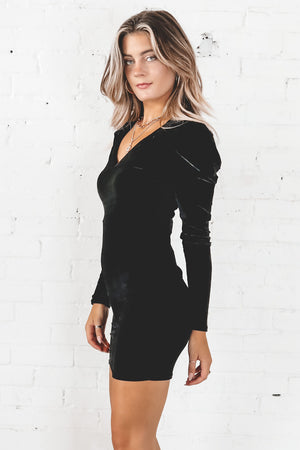 Can I Call You Back Black Velvet Bodycon Dress