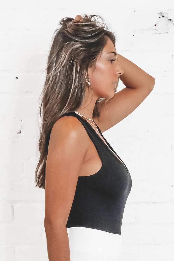 One Of The Girls Ribbed V Neck Bodysuits