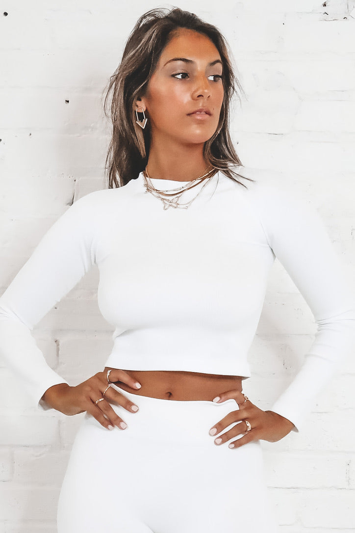 The Time Is Now White Ribbed Crop Top