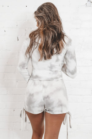 On Cloud Nine Ivory And Gray Tie Dye Set