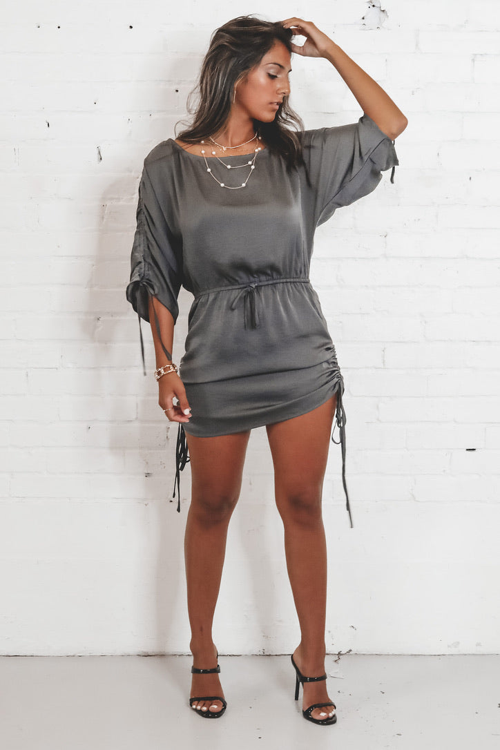 Out Of Your League Gray Satin Ruched Dress