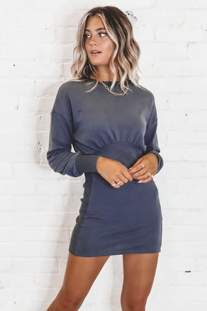 Gotta Have It Navy Balloon Sleeve Dress