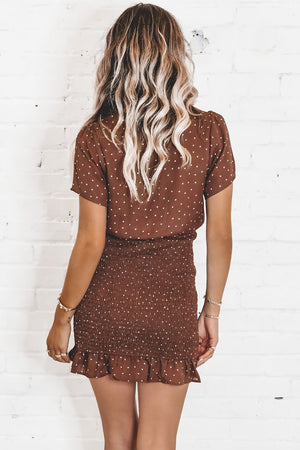 Literally No Way Brown Star Print Smocked Dress