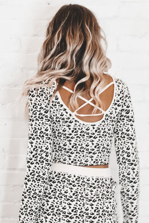 Living In A Dream White Leopard Sweater Top