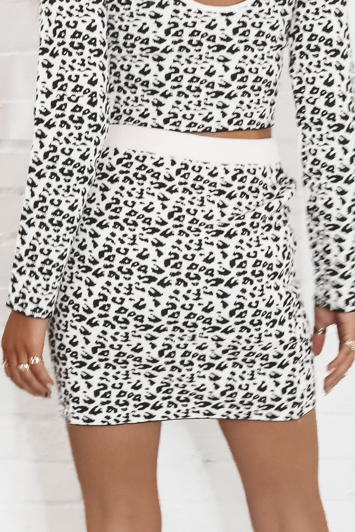 Living In A Dream White Leopard Sweater Skirt