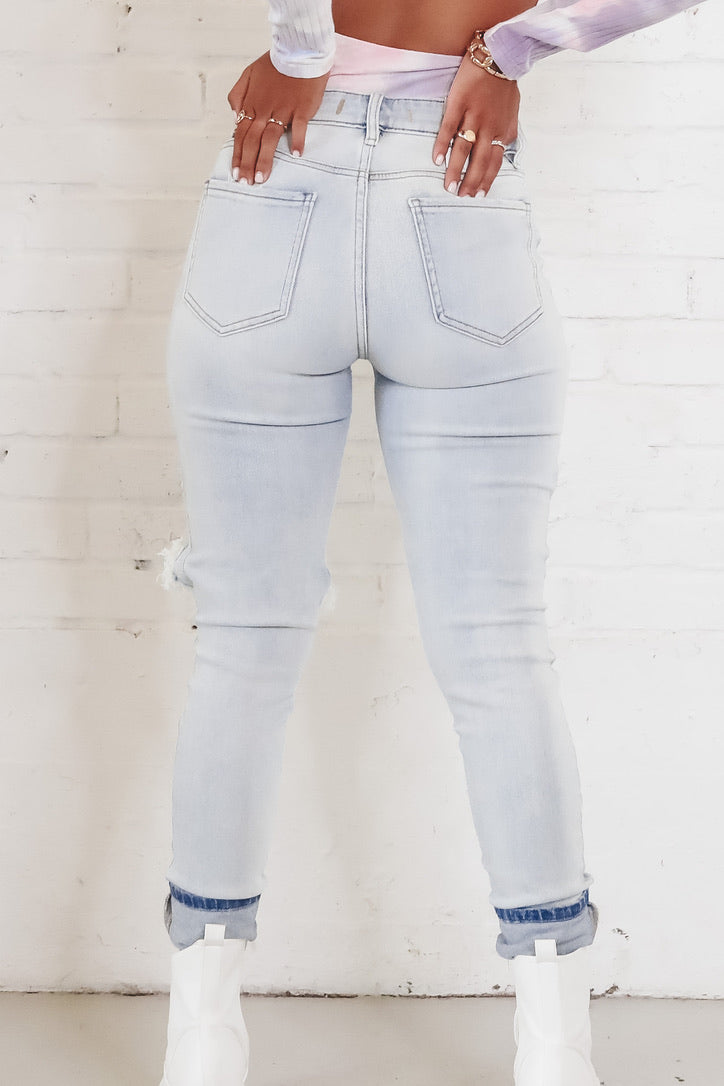 Don't Distress Light Wash High Waist Jeans