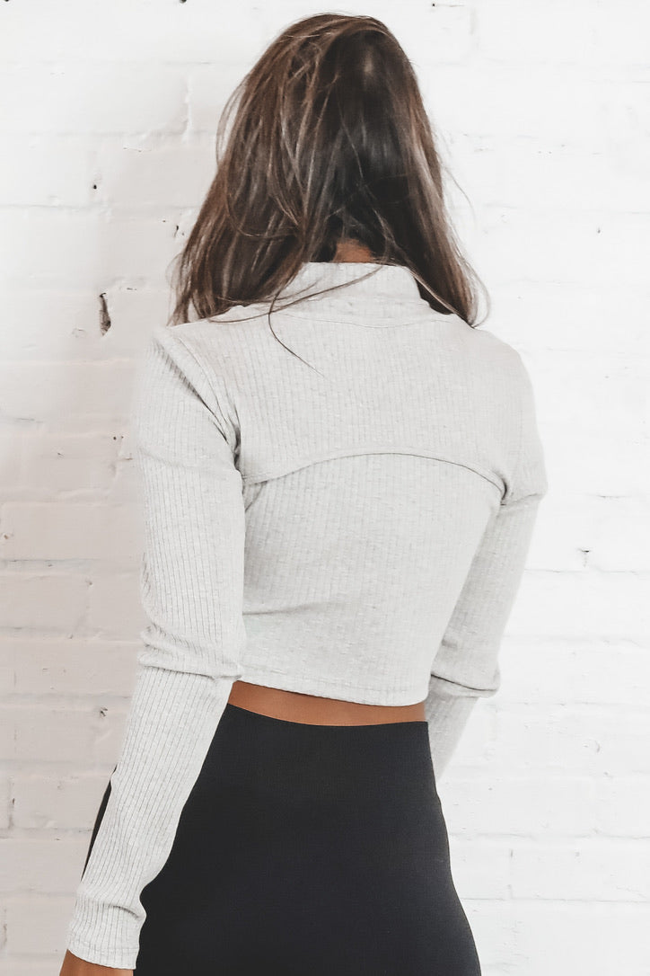 Lost In The Moment Gray Cropped Lounge Top