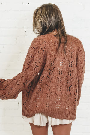 What's The Gossip Rust Knit Cardigan