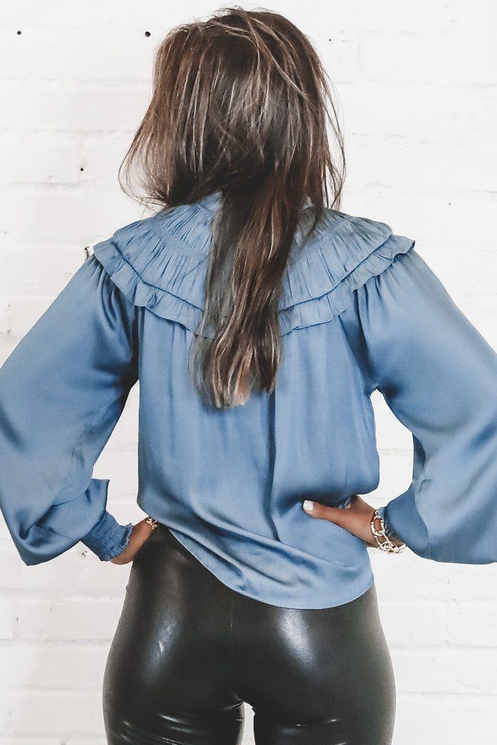 Give Me Butterflies Blue Satin Shirring Neck Top