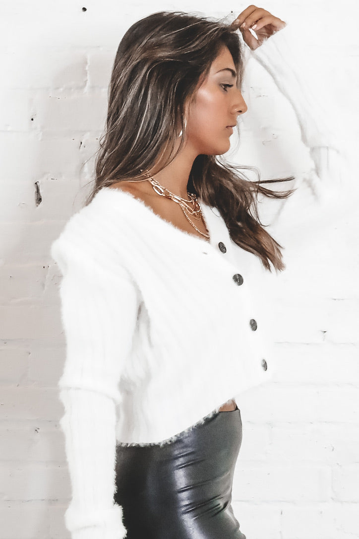 There For You White Fuzzy Crop Cardigan