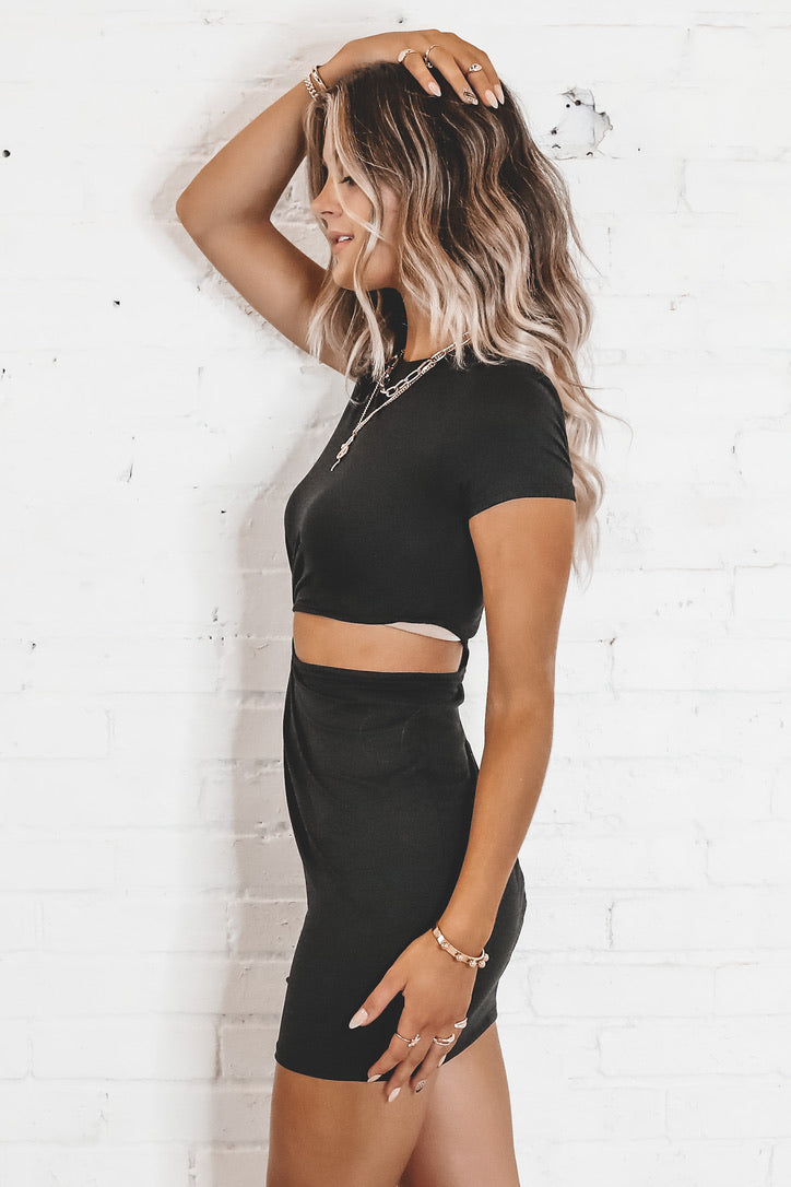 Can't Chill Black Cutout T-Shirt Dress