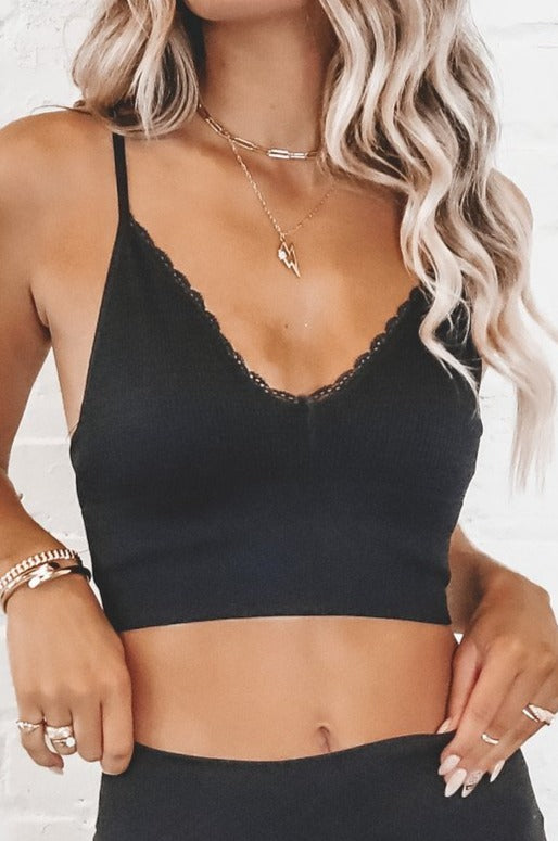 Doll Face Waffle Knit Lace Trim Bralette