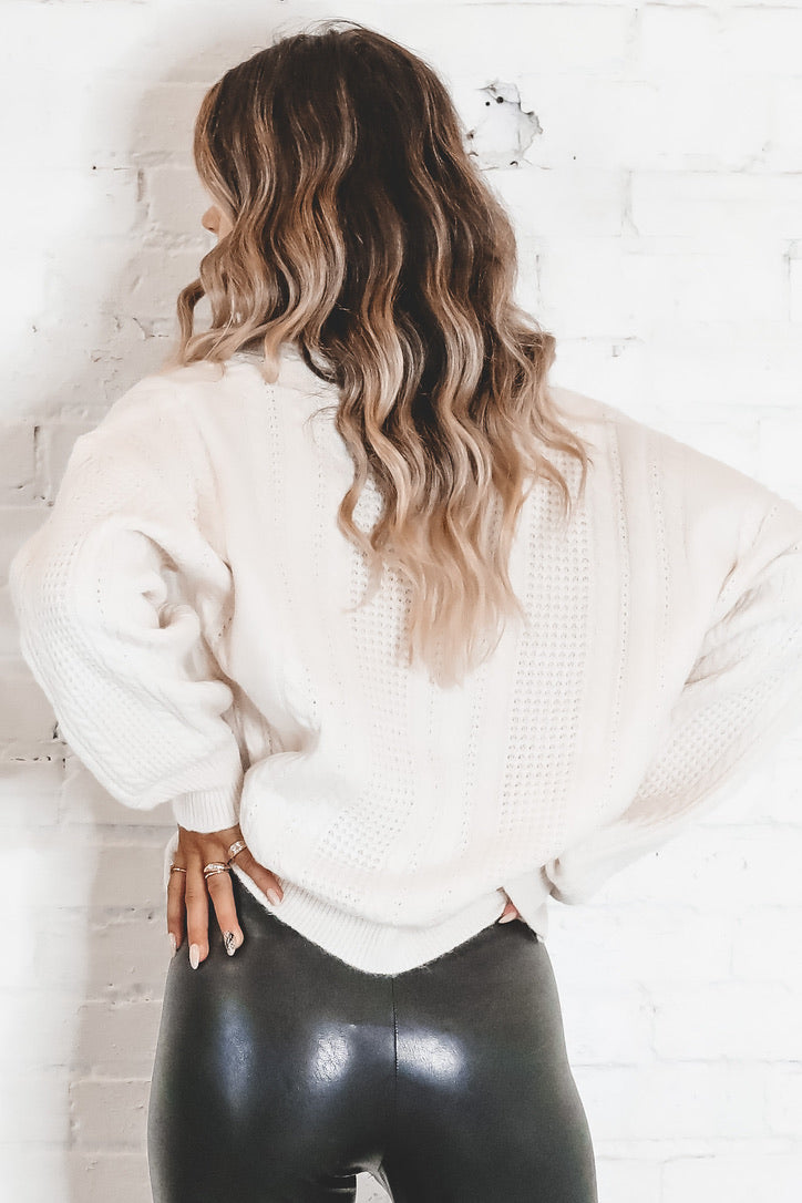 See You Later Cream V Neck Sweater