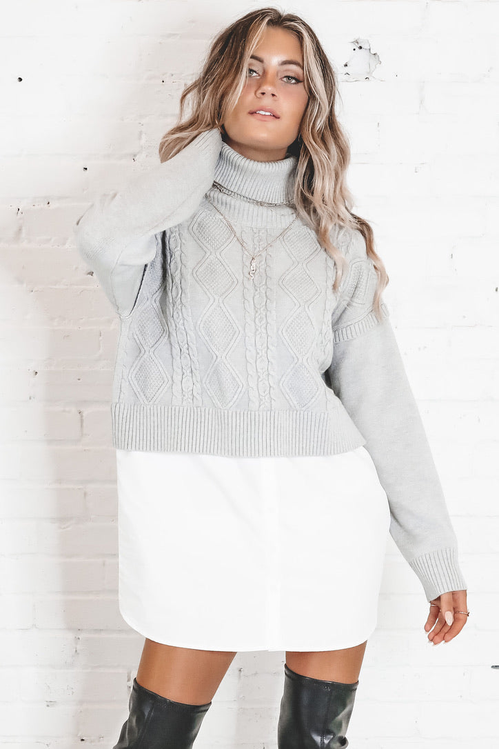 In With The New Gray Contrast Turtleneck Sweater Dress