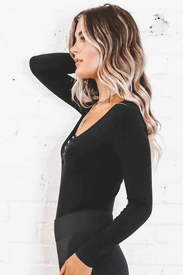 At Home Date Black Bodysuit