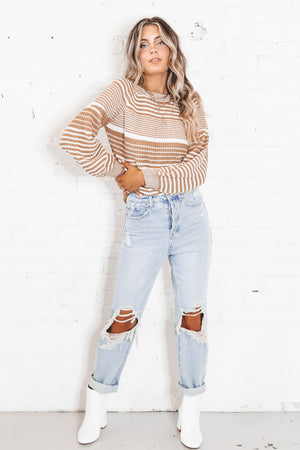 SAGE THE LABEL White And Brown Odie Sweater