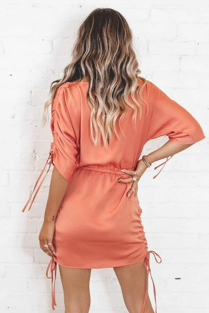 Out Of Your League Rust Satin Ruched Dress