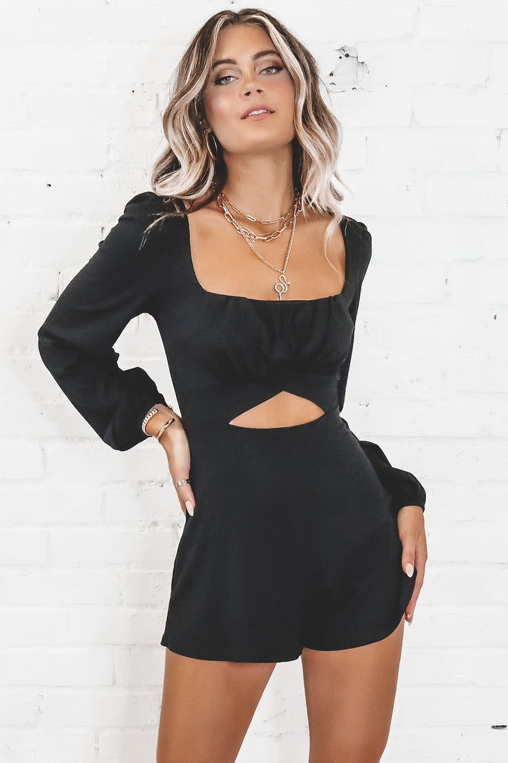 Blind Date Black Cutout Romper