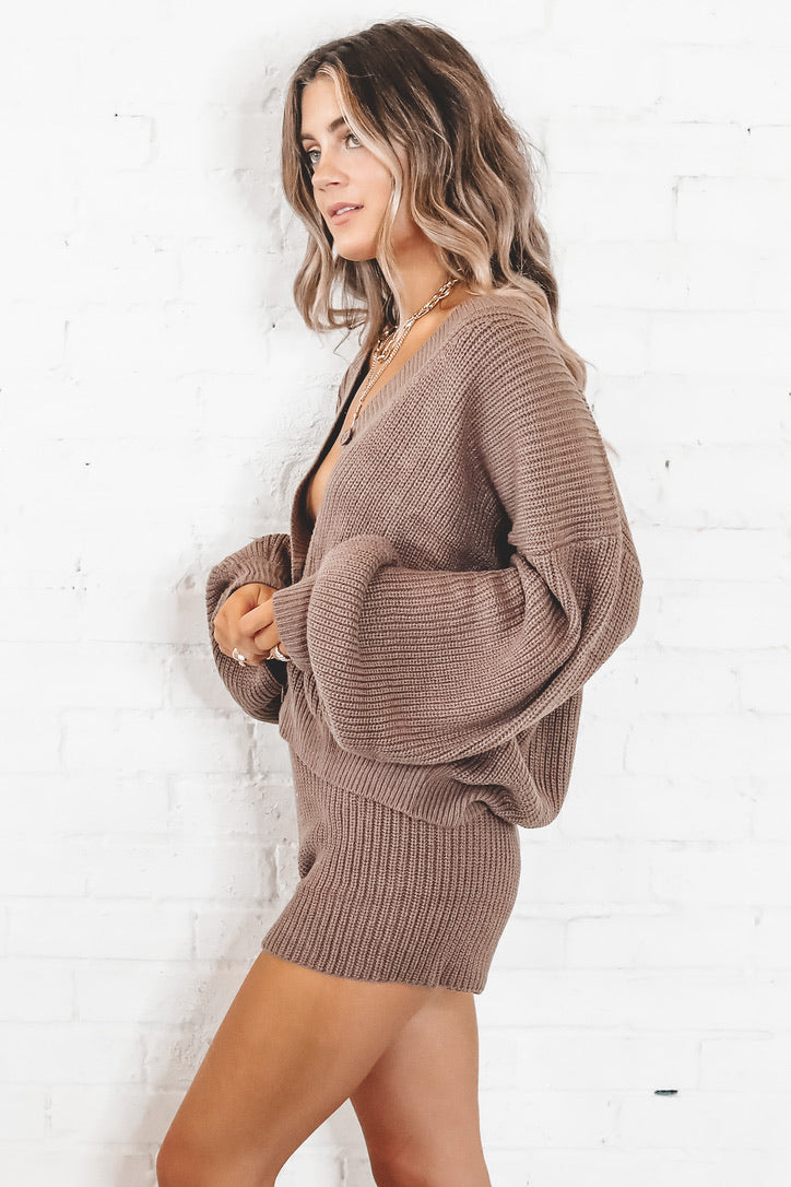 Learn The Ropes Dark Taupe Cardigan Set