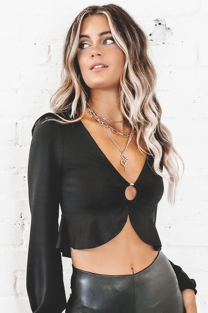 Need You The Most Black Crop Top